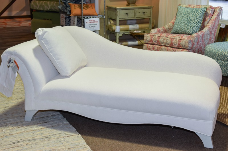 A newly upholstered chaise lounge in Outdura Rumor Snow